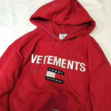 74e0012ec Tommy Hilfiger x Vetements Women Embroidery LOGO Hot Hoodie Cute