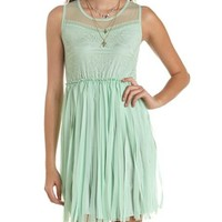 Lace-Top Chiffon Fringe Dress: Charlotte Russe