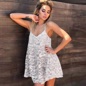 DCKL9 Ladies Summer Sexy Hollow Out V-neck Backless Spaghetti Strap Lace One Piece Dress [10483285517]