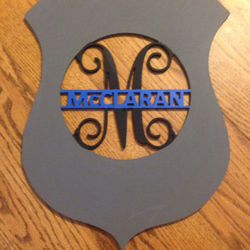 Personalized Police Badge Monogram Door/Wall hanger (painted)