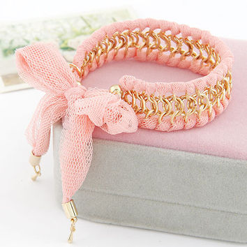 Lady-wearing Pink Fabric All-matching Chain Bracelet, Women's Fashion accessory, Birthday Gifts, Valentine's Day Gift,Party Jewelry 11041269