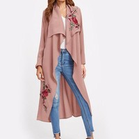 Floral Embroidery Trench Coat