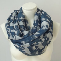 Navy Infinity Scarf Elephant Print Chunky Scarf Spring Summer Colors Pareo