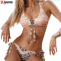 New 2016 Handmade Crochet Bikini Brazilian Summer Beach Swim Wear Reversible Swimsuit Sexy Swimwear Women Swimsuits Bathing Suit