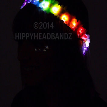 Rainbow Flower Crown with Rainbow LEDs For music festivals EDC Raves