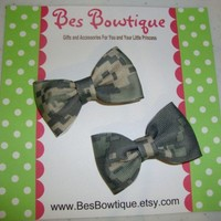 Set of ACU Army Camo Tuxedo Bows  Piggy Tail Set by BesBowtique