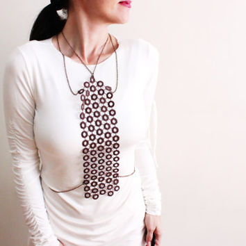 Lace Body Harness Necklace, Chain Collar Necklace, Brown Lace with Bronze Chain, Circle necklace, Body harness bold Chain