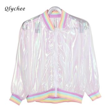 Qlychee Rainbow Laser Symphony Jacket Clear Iridescent Transparent Basic Jacket coat Women Fashion Autumn New Outwear Clothing