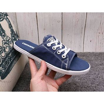 Converse 2018 trendy men's and women's fashion casual canvas slippers F-A36H-MY blue