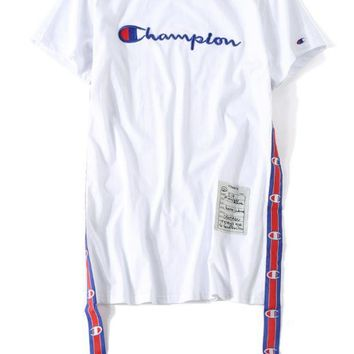 PEAPUF3 Champion Embroidery tide brand loose large size short - sleeved Europe and America long paragraph streamer dress