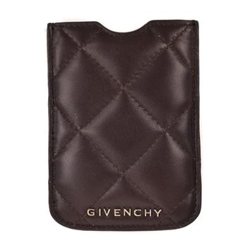 Givenchy Dark Brown Lambskin Leather Quilted Iphone Case