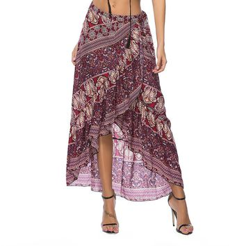 malianna Summer Women Bohemian Floral Printed Ruffles Long Asymmetrical Skirt Boho Beach Skirt Lace Up Irregular Wrap Skirt