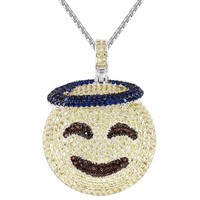Custom Blessed Sign Emoji Circle Iced Out Pendant Chain