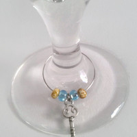 Wine Glass Charms, Skeleton Key, Kitchen Wine Decor, Kitchen Accessories, Wine Charms, Blue Beads, Brown Beads