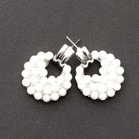 Jewelry & Accessories Town And Country Round Pearl Studded Post Earrings - Silver