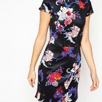 Black Floral Print Short-Sleeve Asymmetrical Dress