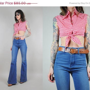 MAJOR SALE // gingham vtg 70's CROPPED Top tank Picnic Tie red & white Plaid shirt blouse hippie