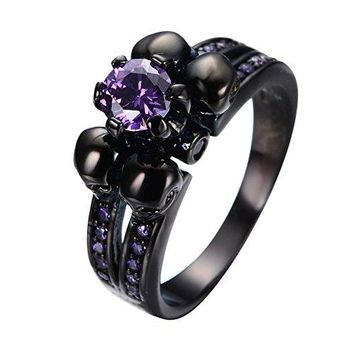 Bamos Jewelry Womens Lab Purple Bright Stone Skulls Black Gold Plated Gift Engagement Wedding Womens Ring Size 510
