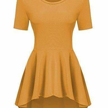 Zeagoo Women's Peplum Asymmetric High Low Fishtail Flare Tunic Top,Large,Yellow