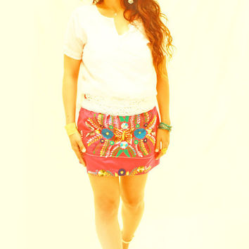 Mexican embroidered mini skirt Reynalda and White Crochet lace belt