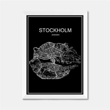 STOCKHOLM SwedenCITY World map poster abstract Coated paper print picture bar cafe pub living room painting 42x30cm