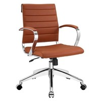 Tan Ribbed Vegan Leather Desk Chair