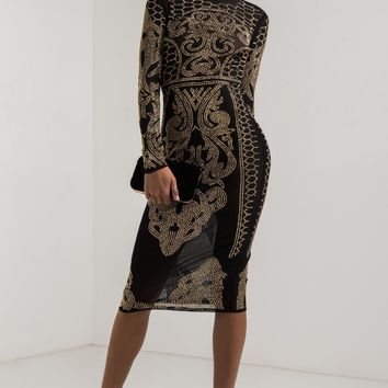 AKIRA High Neck Long Sleeve Semi Sheer Bodycon Studded Rhinestone Mesh Midi Dress in Black