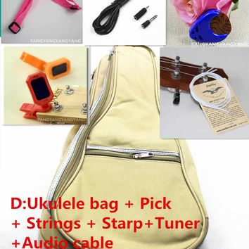 Soprano Concert Tenor Ukulele Bag Case Backpack 21 23 26 Inch Package Ukelele Pick  Strings starp Tuner Audio Cable Guitar Parts