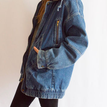 90s Oversized  Denim + Sherpa Grunge Jean Jacket / Oversized Slouch Parka / Denim Coat  / 1990s Grunge / distressed