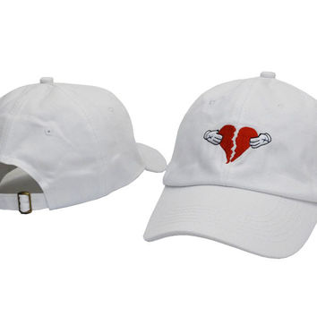 White Embroidery Kanye West 808's & HEARTBREAK YEEZY YEEZUS HEART BREAK Baseball Cap Hip Hop Women & Men Strapback Dad Hat