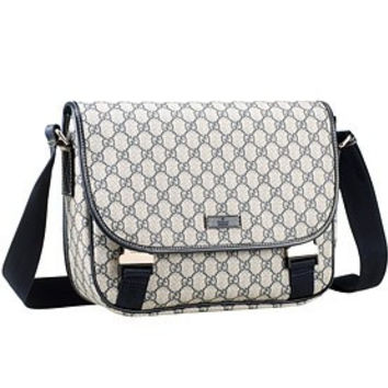 Gucci Monogram Canvas Messenger Bag Navy