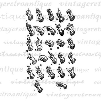 Digital Sign Language Alphabet Hand Sign Letters Printable Image Collage Sheet Graphic Art Antique Clip Art Jpg Png Eps HQ 300dpi No.1034