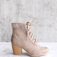 point the way perforated ankle boots in taupe