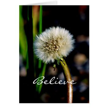 Make a Wish, Believe, Dandelion, Blank Inside Card