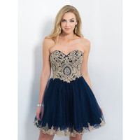 Hot Navy Blue Cocktail Dresses Homecoming Dresses Beaded Gold Appliques A line Backless Lace Prom Party Gowns Short Length 2016