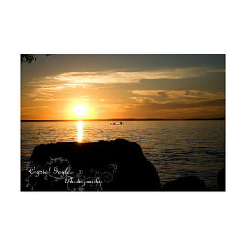 Sunset Photography Canoe Couple Romantic Orange Black Silhouette coaster greeting card calendar