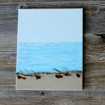 Original Seaside Painting with Driftwood & Seaglass Accents , Coastal Wall Art