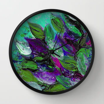 BLOOMING BEAUTIFUL 1 - Floral Painting Mint Green Seafoam Purple White Leaves Petals Summer Flowers Wall Clock by EbiEmporium