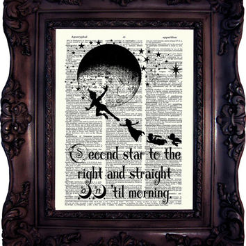 Peter Pan Quote Print Peter Pan Second Star to the Right Peter Pan Neverland Peter Pan Print on Dictionary Page Peter Pan and Wendy C:641