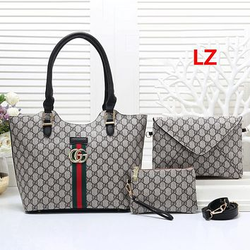 Gucci Women Fashion Leather Handbag Crossbody Shoulder Bag Satchel Three Piece Set