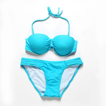Fashion Sexy Women's Bikini Set Pure Push Up Padded Bra Swimwear Swimsuit