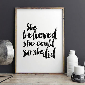 PRINTABLE Art,She Believed She Could So She Did,Nursery Girls Decor,Gift For Her,Wall Art,Quote Prints,Nursery Decor,Typography Print