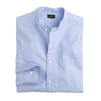 J.Crew Mens Secret Wash Band-Collar Shirt In End-On-End Cotton