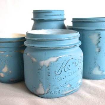 Set of 5 Hand Painted Turquoise Mason Jars