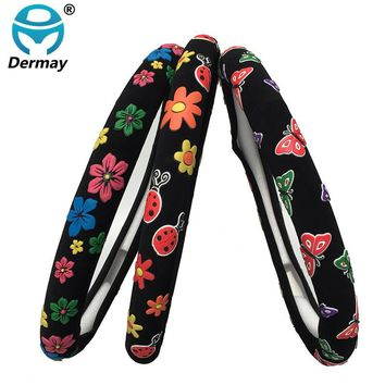 3Colors Cute Steering Wheel Covers Girls Flowers Beatles Butterfly Cartoon Diam 38cm Personalized Car Steering Wheel Cover