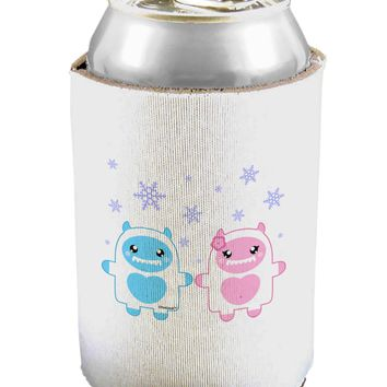 Cute Abominable Snowman Yeti Couple - Christmas Can / Bottle Insulator Coolers