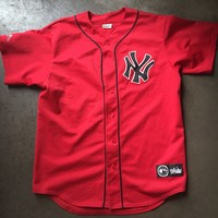 Men's Majestic New York NY Yankees Black Red MLB Button Up Alternate Jersey Sz L