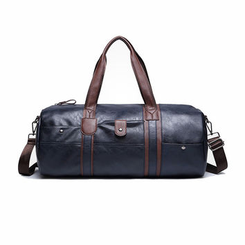 2017 Popular Leather Travel Duffles Men Vintage Luggage Bags Large Casual Cylinder Bags Male Solid Crossbody Bags With Zipper