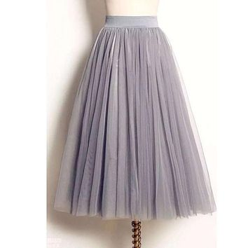 UWBACK Women Skirt 2017 Summer Long Maxi Mesh Skirt Tulle Skirts Women's Full Skirt Tutu 3 Colors Mujer Falda KB1040