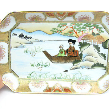 Vanity Tray. Japanese Trinket, Dresser Tray. Hand Painted Figures, Boat Water Scene. Lotus Flowers. Gold Moriage. Vintage Ceramic Home Decor